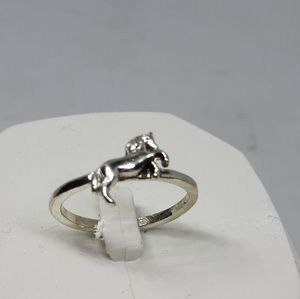 Size 8 silver horse ring